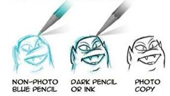 crayon bleu rendu scan