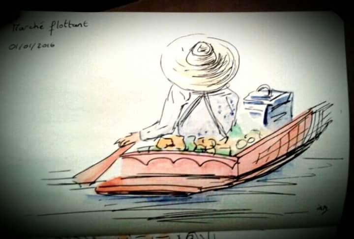 carnet de croquis thailande-marché flottant 01